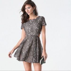 Bebe lace foil print cut out dress prom